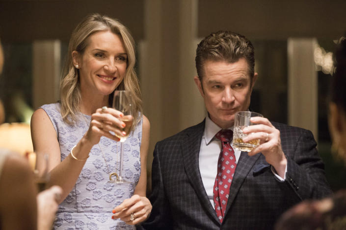 Ever Carradine and James Marsters as the Steins in <em>Marvel's Runaways</em>. (Photo: Paul Sarkis/Hulu)