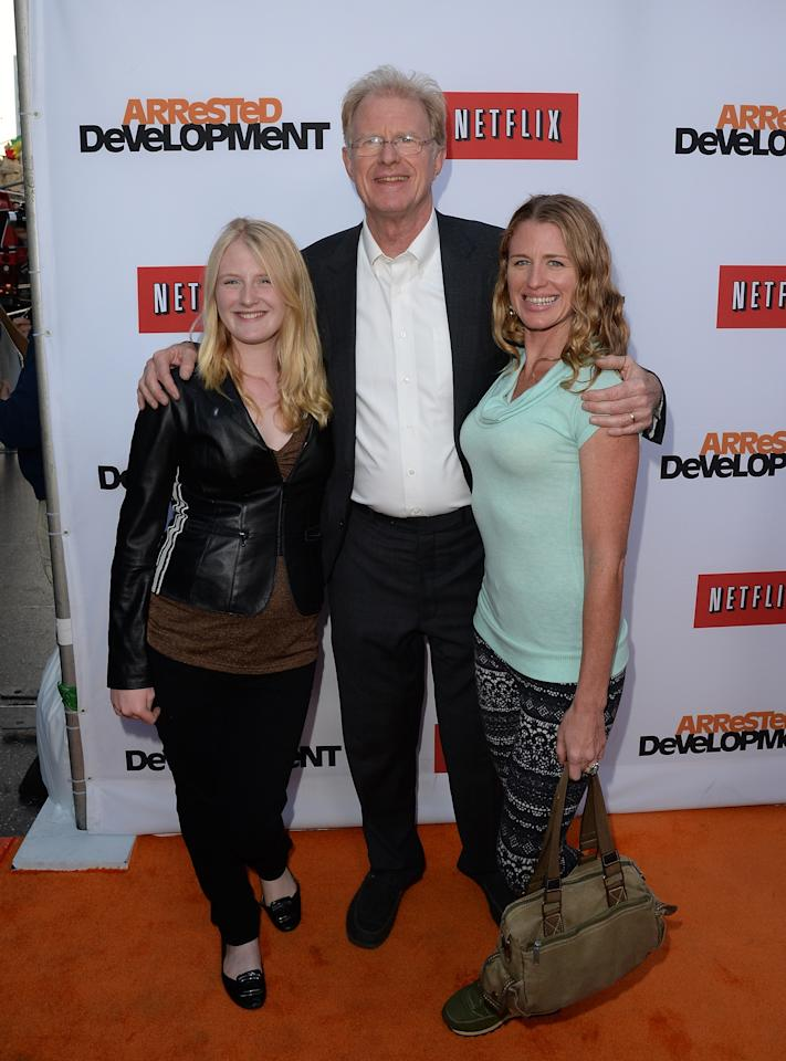 "HOLLYWOOD, CA - APRIL 29:  Ed Begley Jr. and his daughters  arrive at the TCL Chinese Theatre for the premiere of Netflix's ""Arrested Development"" Season 4 held on April 29, 2013 in Hollywood, California.  (Photo by Jason Merritt/Getty Images)"