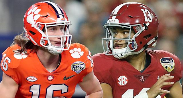 Clemson's Trevor Lawrence and Alabama's Tua Tagovailoa face each other for the first time in Monday's title game. (AP)