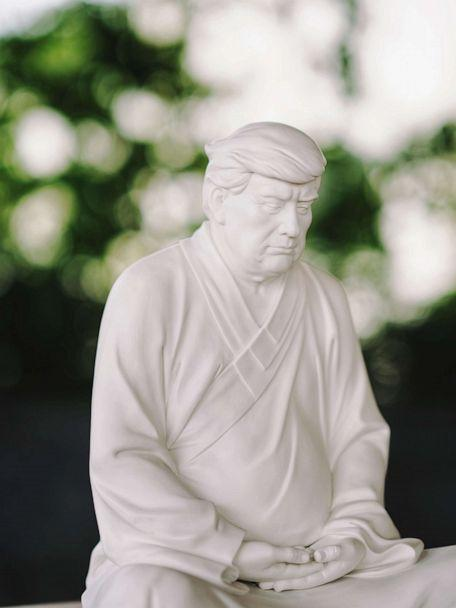 PHOTO: Artist Hong Jinshi from Xiamen, China, normally designs furniture, was inspired to design Trump as Buddha by one of Trump's nicknames in China: 'King of Knowing Everything.' (Xiaoya Leah)