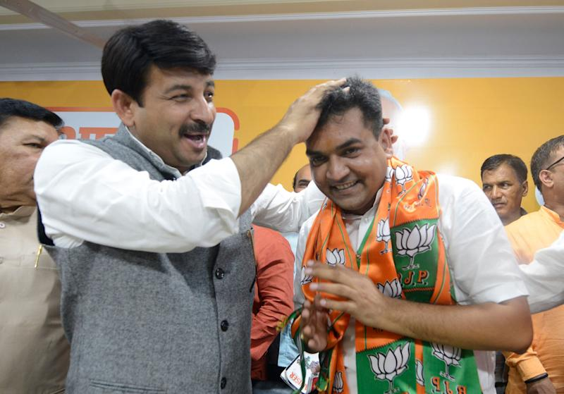Kapil Mishra joined BJP in August in the presence of Manoj Tiwari in New Delhi. (Photo: The India Today Group via Getty Images)