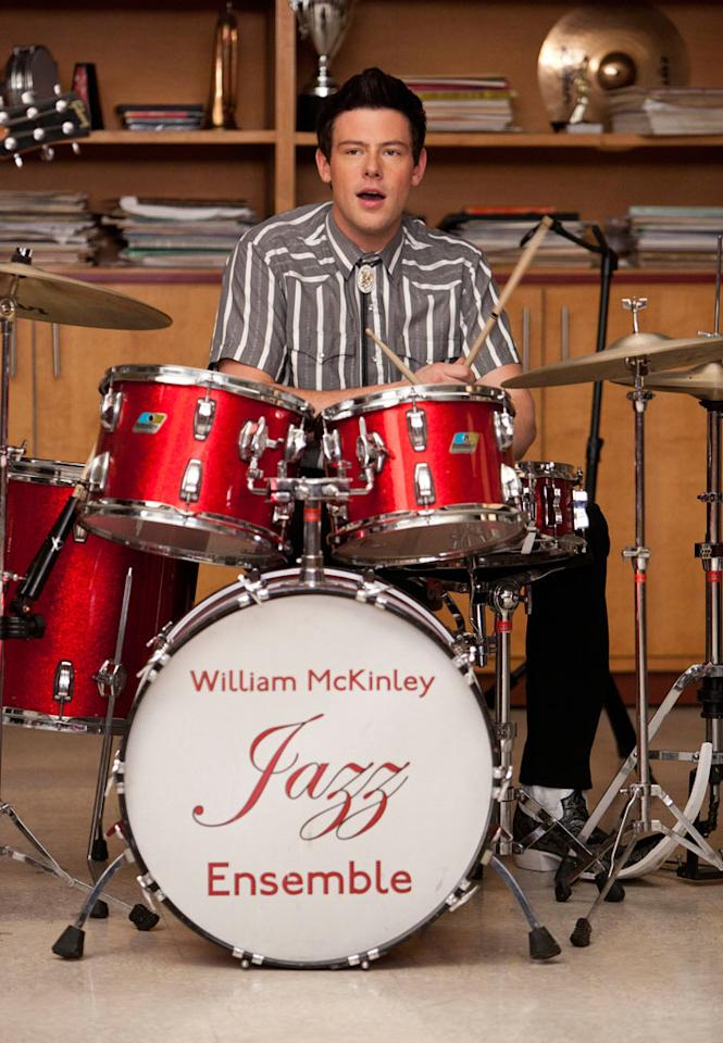 "Finn (Cory Monteith) plays the drums in ""The Spanish Teache"" episode of ""Glee."""