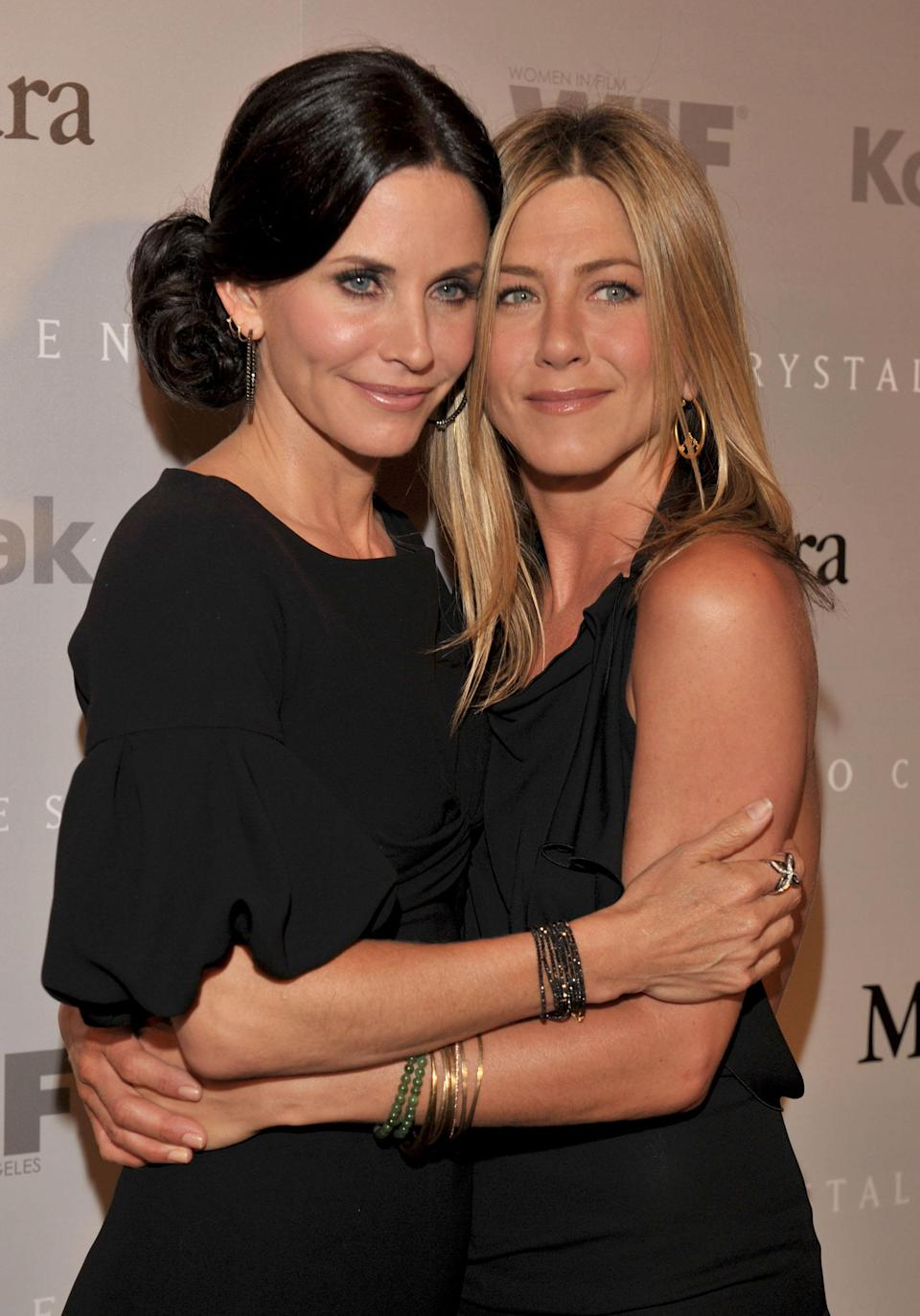 <p>Two more all-black outfits for the longstanding friends. <em>[Photo: Getty]</em> </p>