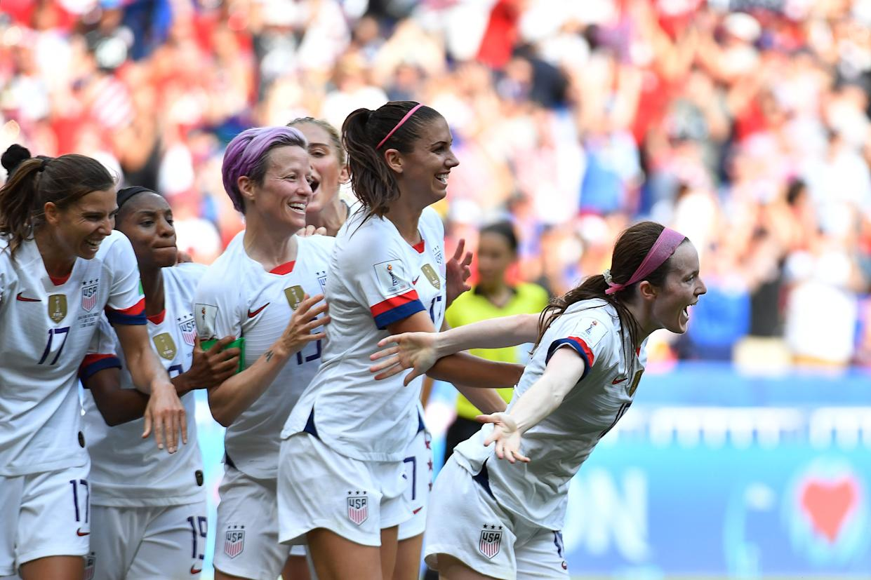 United States' midfielder Rose Lavelle celebrate scoring the 2-0 goal with her teammates during the France 2019 Womens World Cup football final match between USA and the Netherlands, on July 7, 2019, at the Lyon Stadium in Lyon, central-eastern France. (Photo by Philippe DESMAZES / AFP)        (Photo credit should read PHILIPPE DESMAZES/AFP/Getty Images)