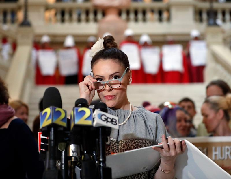 Actress Alyssa Milano speaks after delivering a letter to Gov. Brian Kemp's office detailing her opposition to HB 481 at the State Capitol Tuesday, April 2, 2019. (Photo: John Bazemore/AP)