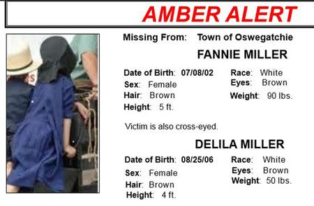 A computer screenshot shows the Amber Alert notice which was issued in New York State following abduction of two young Amish girls