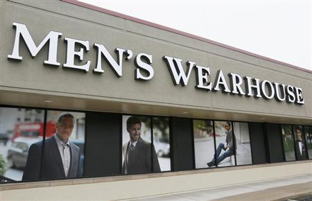 The Men's Wearhouse sign is seen outside its store in Westminster, Colorado