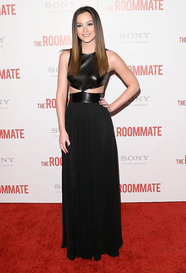 "Leighton Meester donned a daring dress of her own at the Los Angeles premiere of ""The Roommate."" What do you make of her leather-and-jersey Michael Kors creation? Are the cutouts caustic or fashion-forward? Jesse Grant/<a href=""http://www.wireimage.com"" target=""new"">WireImage.com</a> - January 23, 2011"