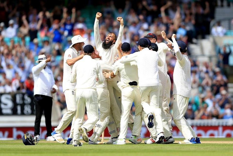 Moeen celebrates taking a memorable hat-trick against South Africa at the Oval in 2017 (PA Archive)
