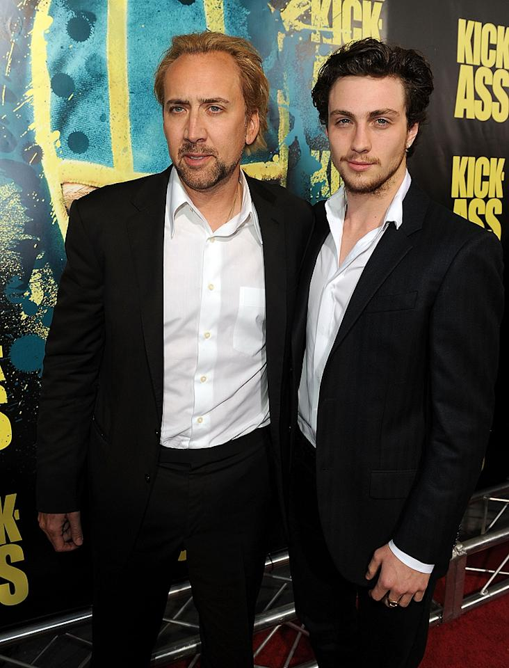 """<a href=""""http://movies.yahoo.com/movie/contributor/1800018581"""">Nicolas Cage</a> and <a href=""""http://movies.yahoo.com/movie/contributor/1808440454"""">Aaron Johnson</a> at the Los Angeles premiere of <a href=""""http://movies.yahoo.com/movie/1810063108/info"""">Kick-Ass</a> - 04/13/2010"""