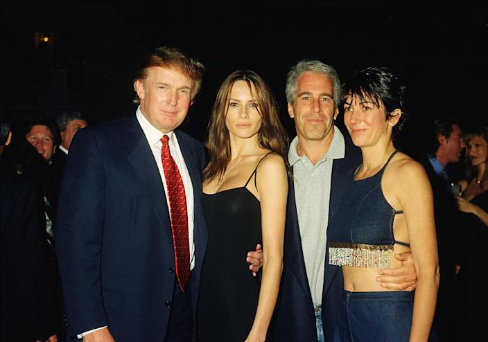 From left, Donald Trump, his girlfriend (and future wife) Melania Knauss, Epstein and Maxwell at Mar-a-Lago in 2000. (Davidoff Studios/Getty Images)
