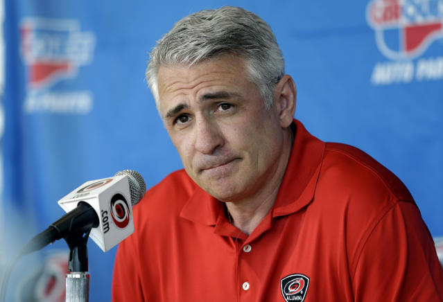 FILE - In this May 5, 2014, file photo, Ron Francis, at the time the general manager of the Carolina Hurricanes, takes questions from members of the media during a news conference in Raleigh, N.C. Seattle's NHL expansion team is close to an agreement with Francis to become its first general manager, a person with direct knowledge tells The Associated Press. The person spoke on condition of anonymity Tuesday, July 16, 2019, because the team had not made an announcement. The expansion Seattle franchise is set to begin play in the 2021-22 season as the NHL's 32nd team.(AP Photo/Gerry Broome, File)