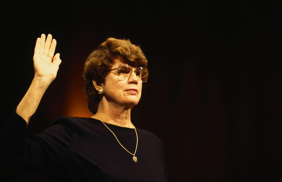 <p>Nominated by President Bill Clinton earlier, Janet Reno was sworn in as Attorney General of the United States in March of 1993. Winning by a landslide in the Senate, she went on to become the first female Attorney General ever. </p>