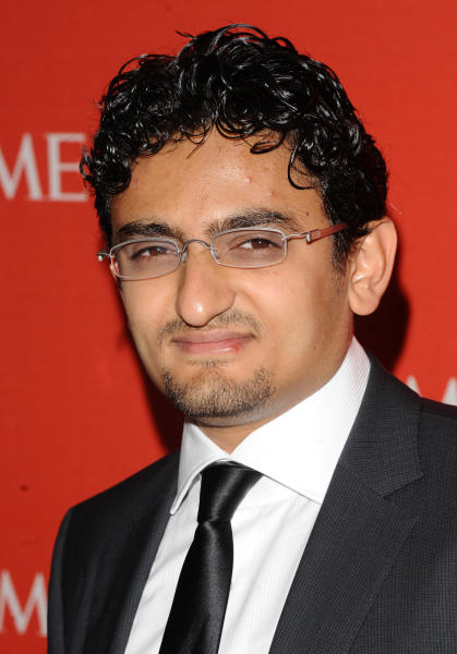 "FILE - In this April 26, 2011 file photo, Egyptian Internet Activist Wael Ghonim attends the Time 100 Gala, celebrating the 100 most influential people in the world in New York.   Ghonim said late Thursday, Sept. 19, 2019 in a video on his twitter account that authorities raided his parents' house in Cairo and arrested his brother Hazem, whom he described as ""a political person"" and confiscated his parents' passports. Ghonim alleges that the Egyptian embassy in the U.S. threatened him the previous day ""something will happen"" if he didn't stop criticizing Egypt's government on social media.  (AP Photo/Peter Kramer)"