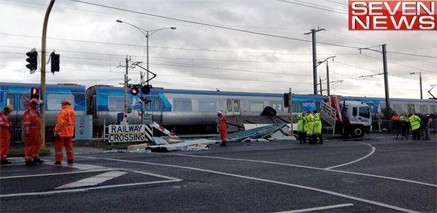 Train collides with truck at a level crossing. Photo: Laurel Irving @laurelirving7