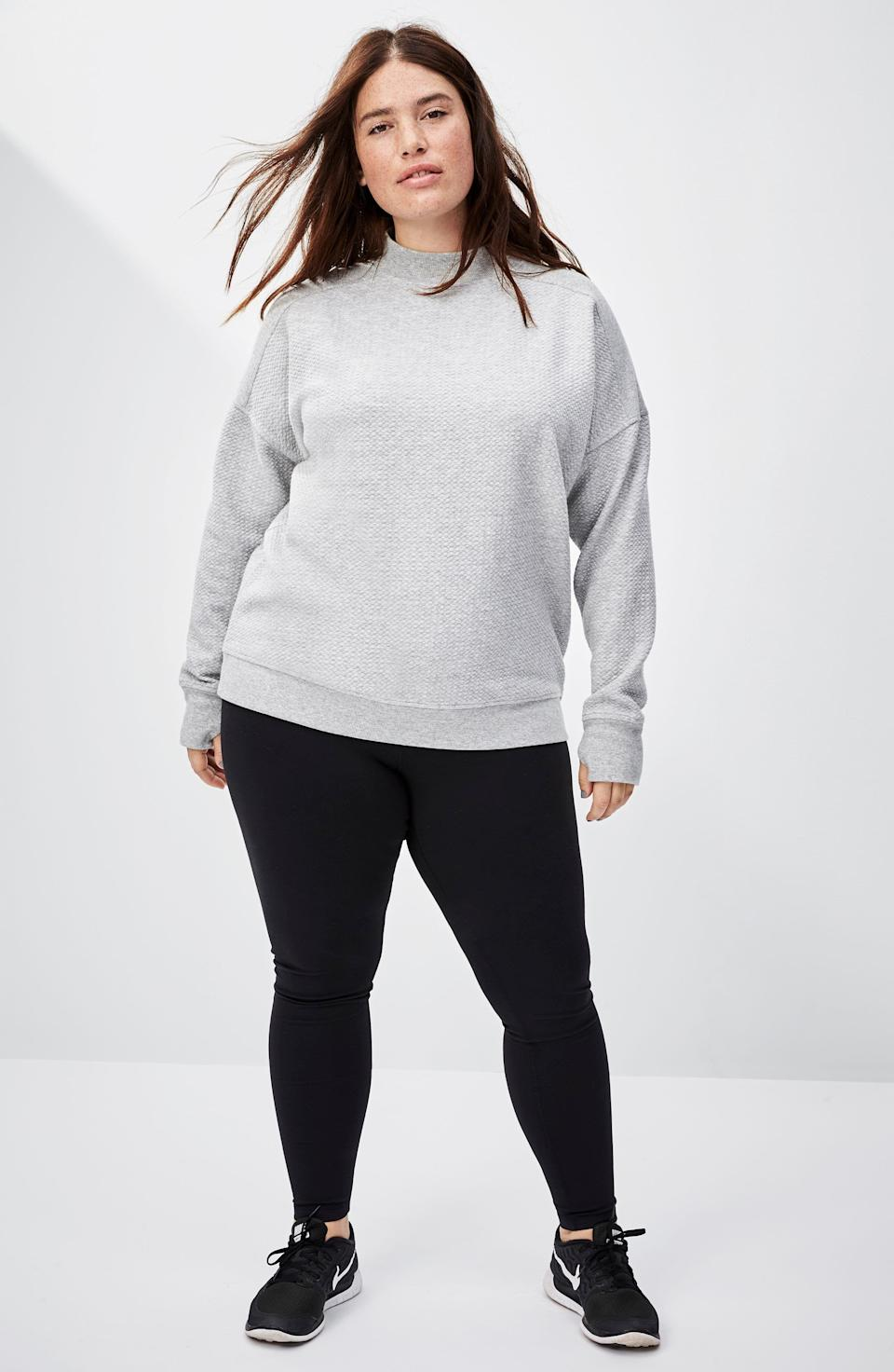 """<p><strong>ZELLA</strong></p><p>nordstrom.com</p><p><strong>$44.25</strong></p><p><a href=""""https://go.redirectingat.com?id=74968X1596630&url=https%3A%2F%2Fwww.nordstrom.com%2Fs%2Fzella-live-in-high-waist-leggings-plus-size%2F4313556&sref=https%3A%2F%2Fwww.goodhousekeeping.com%2Fclothing%2Fg35139110%2Fbest-plus-size-workout-clothes%2F"""" rel=""""nofollow noopener"""" target=""""_blank"""" data-ylk=""""slk:Shop Now"""" class=""""link rapid-noclick-resp"""">Shop Now</a></p><p>The high-waist, flattering cut and <strong>stretchy, yet opaque material</strong> makes these leggings popular among online reviewers. """"These leggings help hold everything in place and never roll down even when working out,"""" says one reviewer. </p>"""