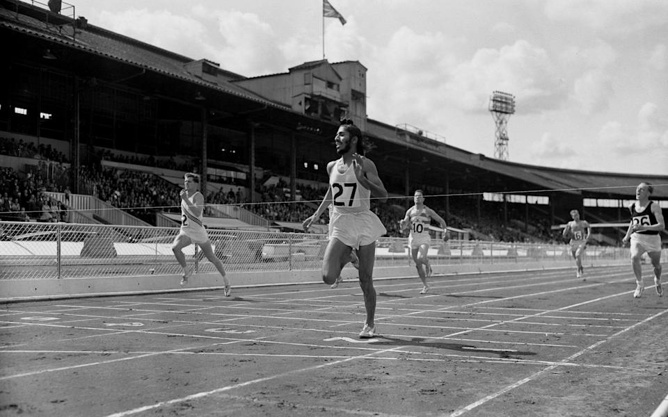 Singh wins the final of the 440 yards from Robbie Brightwell (No 2) at the AAA Championships at White City in 1960 - S&G and Barratts