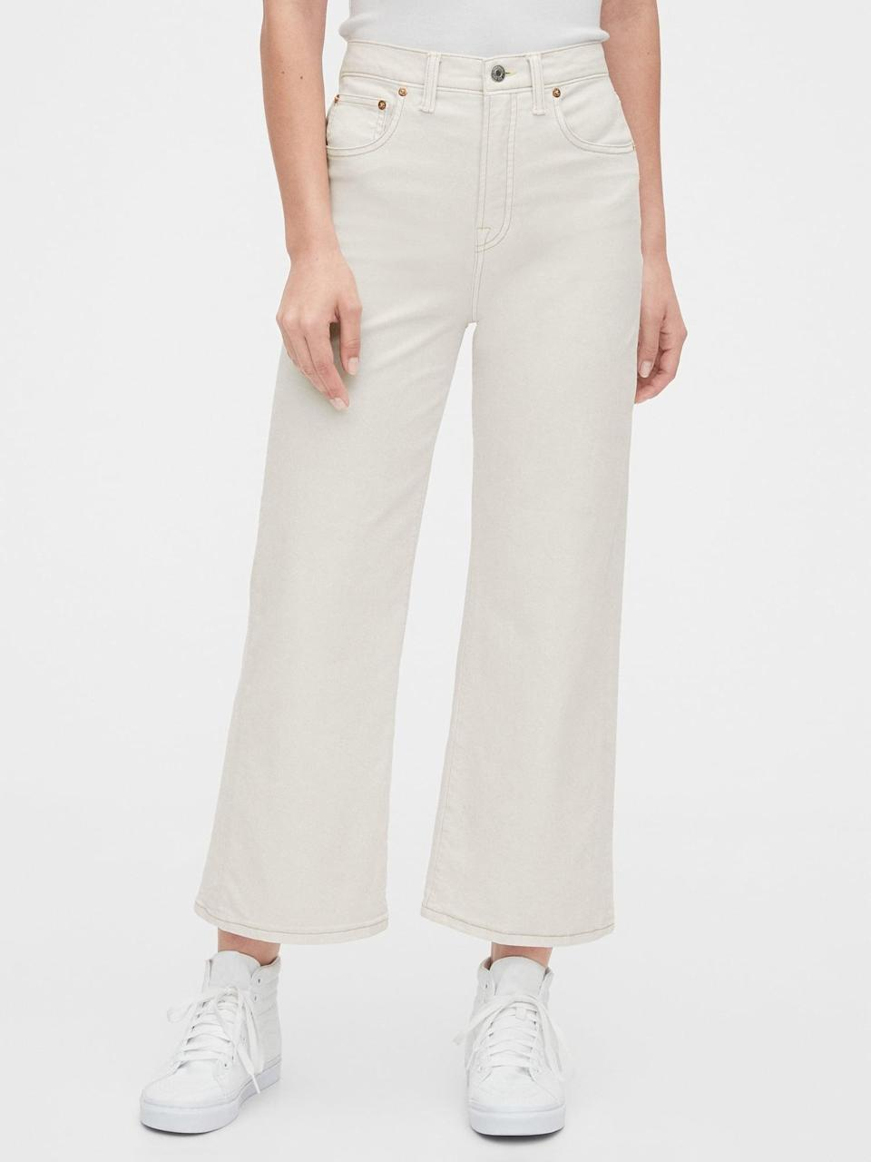 """<p>""""I have never subscribed to the 'no white after Labor Day' rule, and that will continue this season. I've been searching for an off-white or cream pair with a wider leg, and I think the <span>Gap High Rise Wide-Leg Crop Jeans</span> ($49, originally $70) are it. Also, if you want in on a little secret, I think Gap makes some of the most comfortable, affordable jeans on the market. I have multiple pairs and think they're a sleeper hit."""" - IY</p>"""