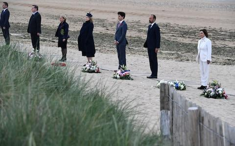 R-L - US House Speaker Nancy Pelosi, French Prime Minister Edouard Philippe, Canadian Prime Minister Justin Trudeau, Britain's Defence Secretary Penny Mordaunt and Dutch Defence Minister Ank Bijleveld attend an international ceremony on Juno Beach - Credit: FRED TANNEAU/POOL/EPA-EFE/REX
