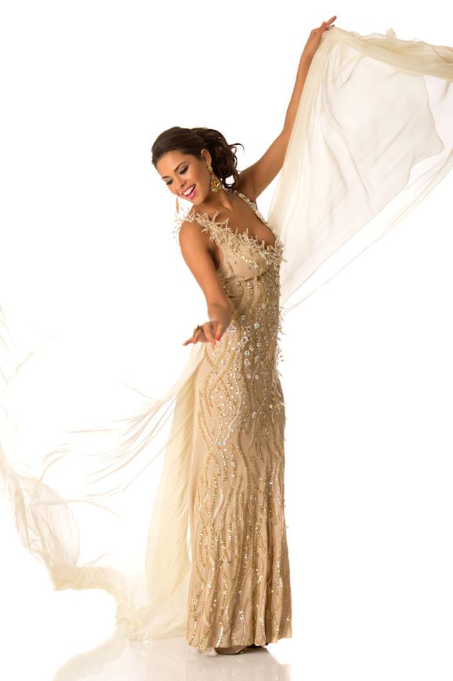 Miss Bolivia 2012, Yessica Mouton, poses in her evening gown at Planet Hollywood Resort and Casino, in Las Vegas, Nevada. She will spend the next few weeks touring, filming, rehearsing, and making new friends while she prepares to compete for the coveted Miss Universe Diamond Nexus Labs Crown.