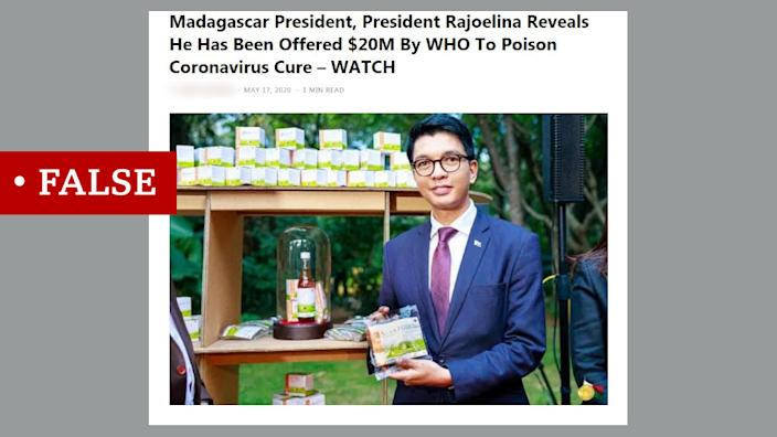 Screen grab of article about Madagascar president