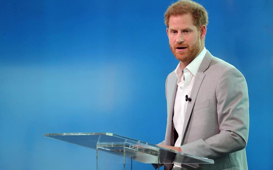 Prince Harry speaks at the launch of Travalyst in 2019 - Getty