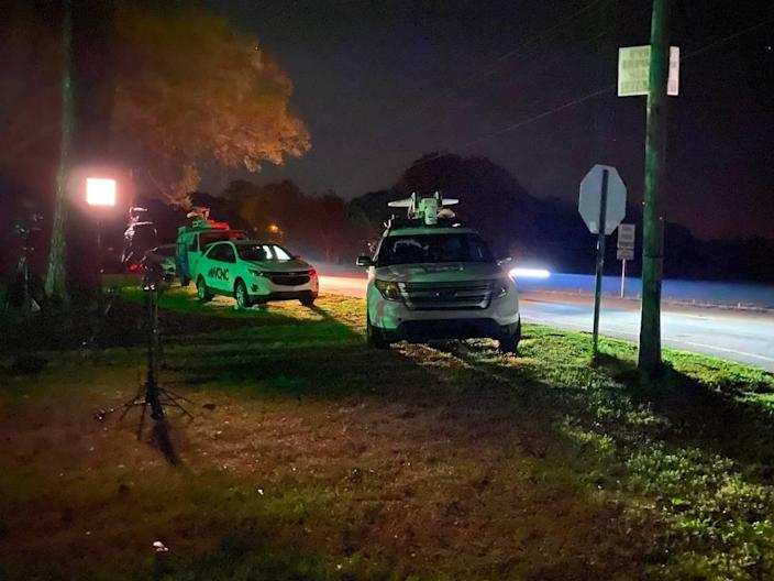 Police were searching in darkness Wednesday night for a suspect in connection with multiple shootings near Rock Hill, S.C.