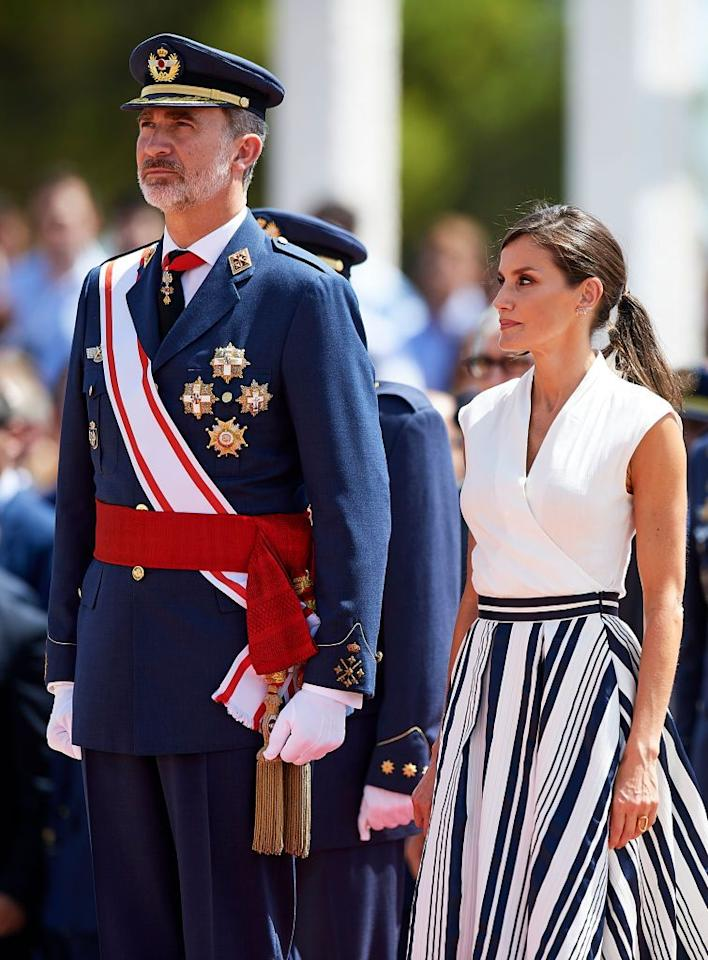 <p>Queen Letizia and Prince Felipe visited the General Military Academy in San Javier, Spain.</p>