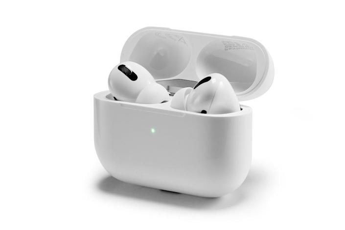 A pair of [hotlink]Apple[/hotlink] AirPods Pro wireless headphones and charging case, taken on November 5, 2019.