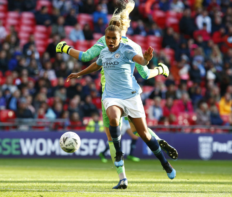 Nikita Parris of Manchester City WFC during The SSE Women's FA Cup Final match between Manchester City Women and West Ham United at Wembley stadium, London, in 2019 (Photo: Action Foto Sport/NurPhoto via Getty Images)