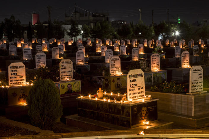 FILE - In this Oct. 31, 2019 file photo, candles adorn the graves of people killed during Syrian war, in the town of Qamishli, north Syria. The U.N. Commission of Inquiry on Syria said in a report released Monday, March, 1, 2021, that tens of thousands of civilians were arbitrarily detained in enforced disappearances during the country's 10-year conflict. The conflict has killed nearly half a million people, displaced half the country's pre-war population of 23 million, including 5 million who are refugees abroad. (AP Photo/Baderkhan Ahmad, File)