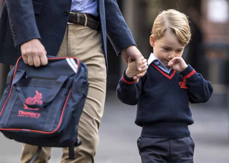 Prince George of Cambridge arrives for his first day of school at Thomas's Battersea