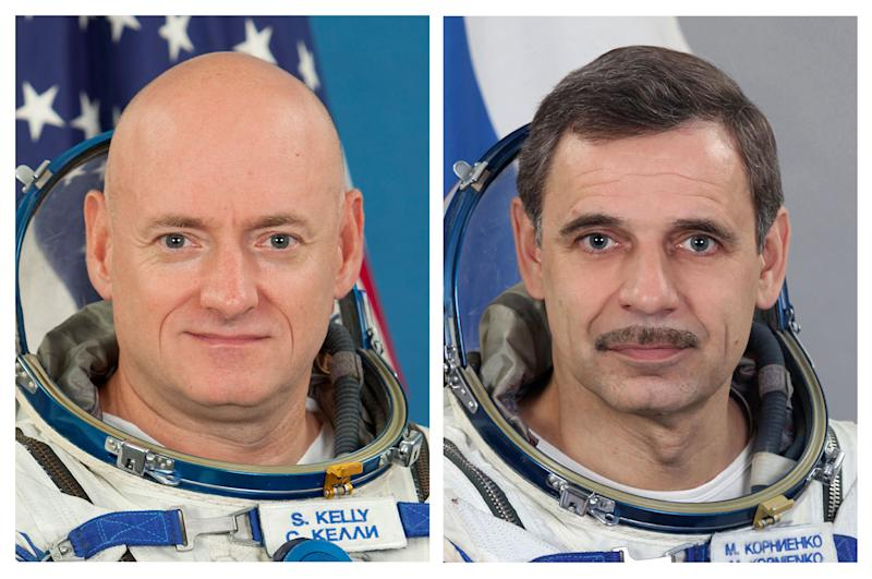 This photo combo provided by the Gagarin Cosmonaut Training Center via NASA, shows NASA astronaut Scott Kelly and Russian cosmonaut Mikhail Kornienko. Kelly and Kornienko will spend an entire year aboard the International Space Station beginning in 2015, according to reports, Monday, Nov. 26, 2012. The extended mission was approved almost two months ago to provide a medical foundation for future missions around the moon, as well as far-flung trips to asteroids and Mars. (AP Photo/Gagarin Cosmonaut Training Center via NASA)