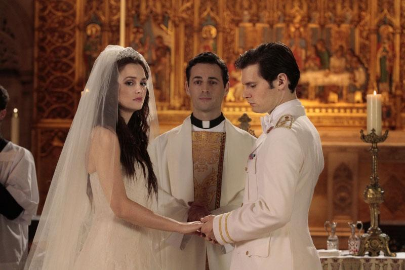 The wedding of Blair Waldorf (Leighton Meester) and Prince Louis Grimaldi (Hugo Becker) on ?Gossip Girl? (2012).