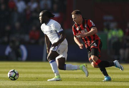 Britain Football Soccer - AFC Bournemouth v Chelsea - Premier League - Vitality Stadium - 8/4/17 Chelsea's Victor Moses in action with Bournemouth's Marc Pugh Action Images via Reuters / John Sibley Livepic