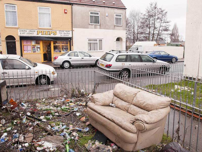 Rubbish left in the street in Hull, an area of social deprivation due to absent landlord tenancy agreements: Rex
