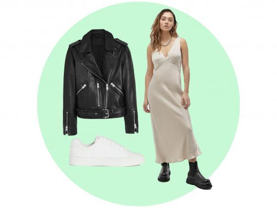 Slip dress (Urban Outfitters, £52), leather biker jacket (AllSaints, £318), white trainers (H&M, £19.99)