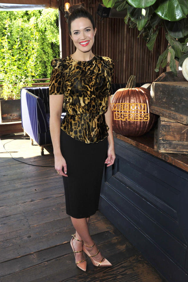 Mandy Moore promoting Friendsgiving with the American Express Blue Cash Everyday Card on November 9, 2017, at the Eveleigh in Los Angeles. (Photo: ParkerPhoenix PR)
