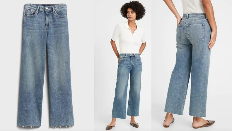 The wide leg jean is in right now