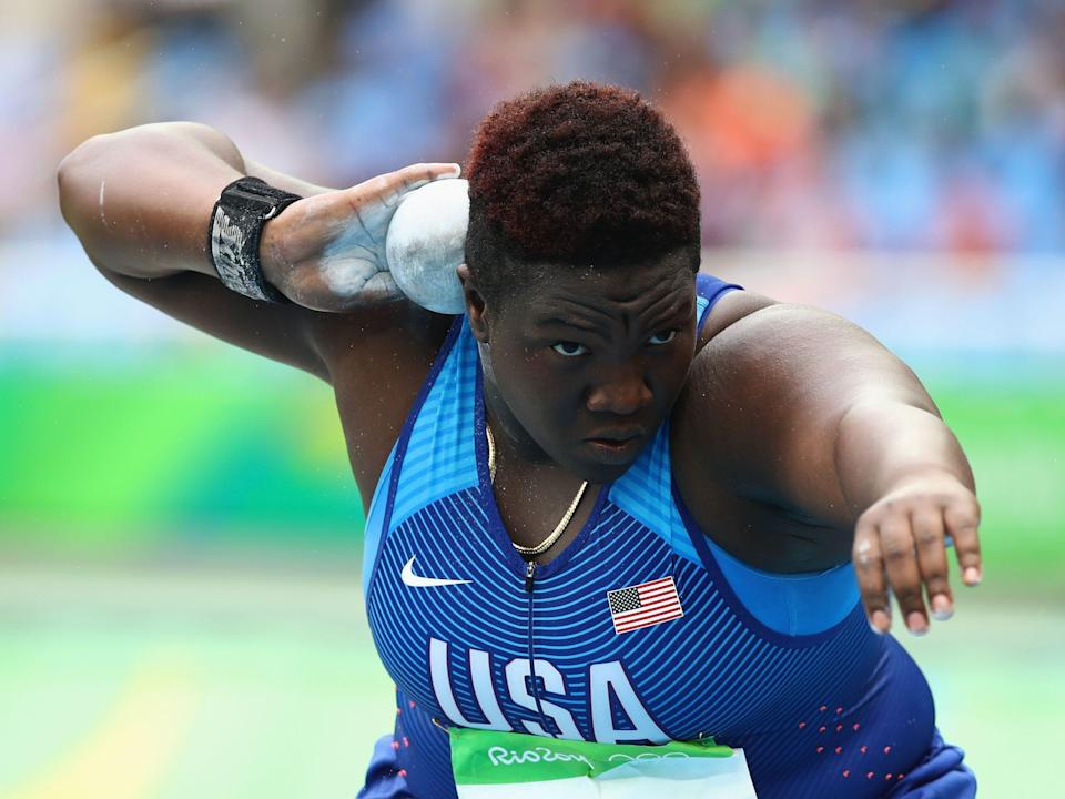 Raven Saunders competes in the 2016 Olympics