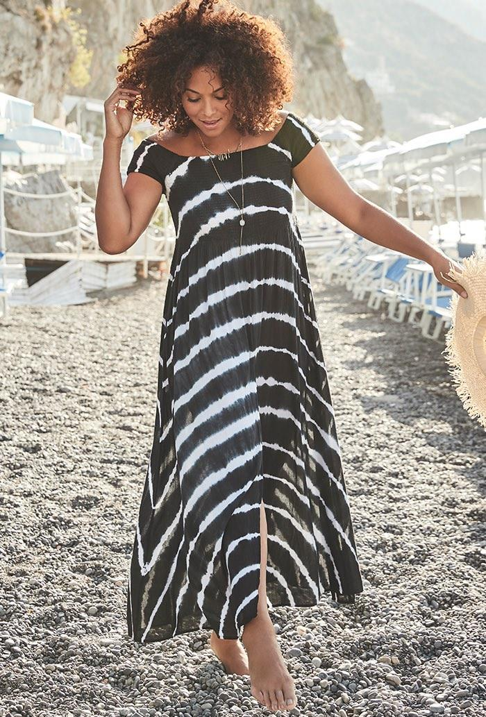 Harper Tie Dye Off the Shoulder Maxi Dress (Credit: Swimsuits for All)