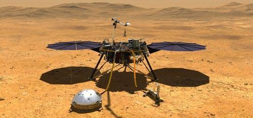 """<span class=""""caption"""">The Mars InSight lander.</span> <span class=""""attribution""""><span class=""""source"""">NASA/JPL-Caltech</span>, <a class=""""link rapid-noclick-resp"""" href=""""http://creativecommons.org/licenses/by-sa/4.0/"""" rel=""""nofollow noopener"""" target=""""_blank"""" data-ylk=""""slk:CC BY-SA"""">CC BY-SA</a></span>"""