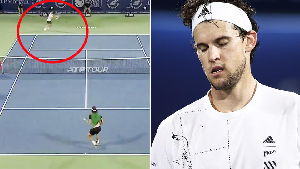 Dominic Thiem suffered a shock loss to Lloyd Harris in Dubai. Image: Tennis TV/Getty
