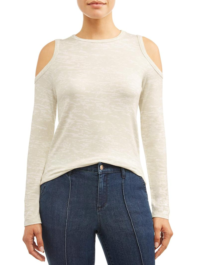 This cold shoulder top is lightweight and available in three different colors. (Photo: Walmart)
