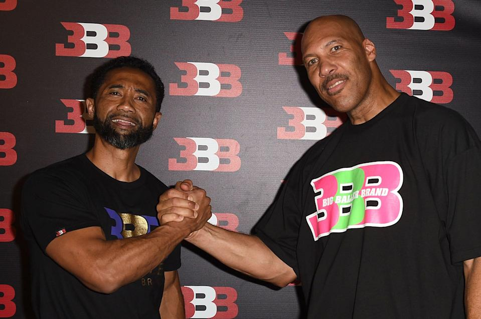 CHINO, CA - SEPTEMBER 02:  Alan Foster (L) and LaVar Ball attend Melo Ball's 16th Birthday on September 2, 2017 in Chino, California.  (Photo by Joshua Blanchard/Getty Images for Crosswalk Productions )