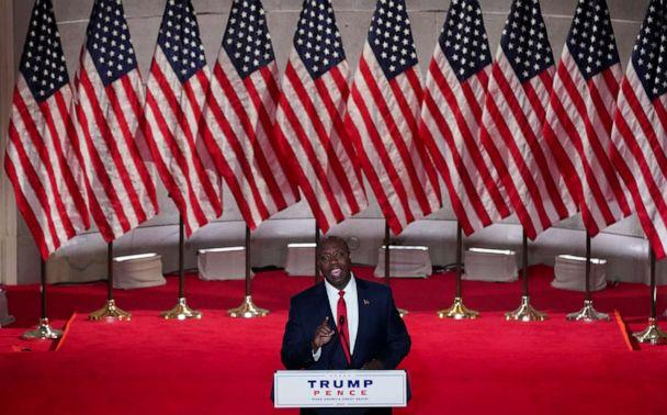 PHOTO: Sen. Tim Scott speaks to the largely virtual 2020 Republican National Convention in a live address from the Mellon Auditorium in Washington, Aug. 24, 2020. (Kevin Lamarque/Reuters)