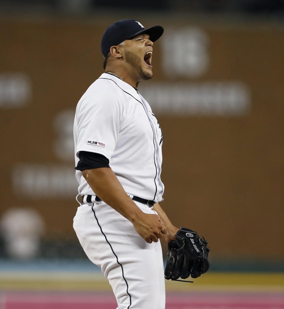 Detroit Tigers relief pitcher Joe Jimenez reacts after the last out of the team's baseball game against the Minnesota Twins, Saturday, Aug. 31, 2019, in Detroit. The Tigers won 10-7. (AP Photo/Carlos Osorio)