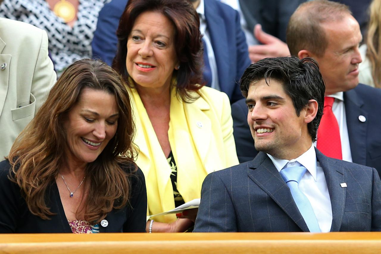 LONDON, ENGLAND - JUNE 28: (L-R) Ruth McDonald the wife of Andrew Strauss and England cricket captain Alastair Cook chat in the Royal Box on day five of the Wimbledon Lawn Tennis Championships at the All England Lawn Tennis and Croquet Club on June 28, 2013 in London, England. (Photo by Julian Finney/Getty Images)