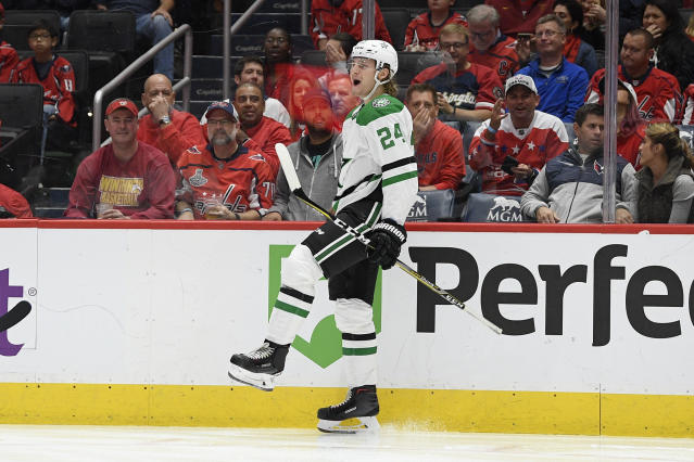 Dallas Stars left wing Roope Hintz, of Finland, celebrates his goal during the second period of the team's NHL hockey game against the Washington Capitals, Tuesday, Oct. 8, 2019, in Washington. (AP Photo/Nick Wass)