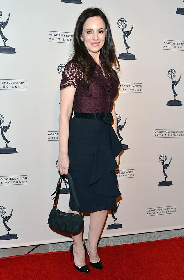 "Madeleine Stowe arrives at the Academy of Television Arts & Sciences Presents An Evening With ""Revenge"" at the Leonard H. Goldenson Theater held at the Academy of Television Arts & Sciences on March 4, 2013 in North Hollywood, California."